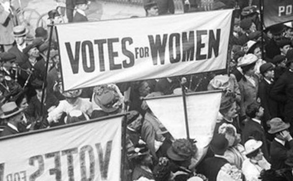 A picture of a protest from the Votes for Women exhibition