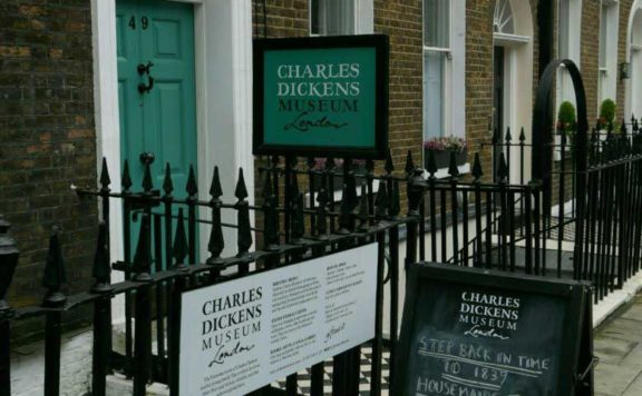 The front of the Charles Dickens Museum in Doughty Street, London