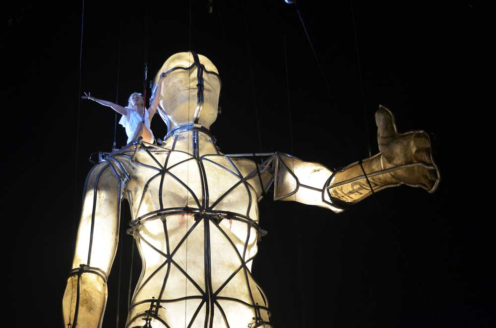A giant puppet of a man at the Greenwich & Docklands Festival