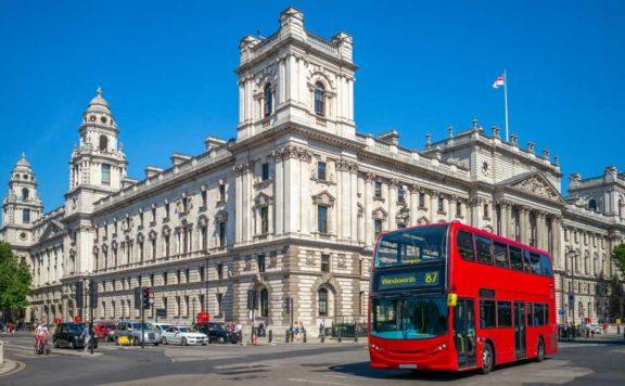 A bus moves through London