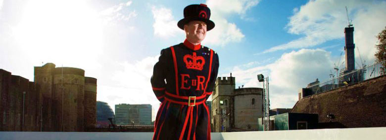 A Beefeater on the Tower of London Ice Rink