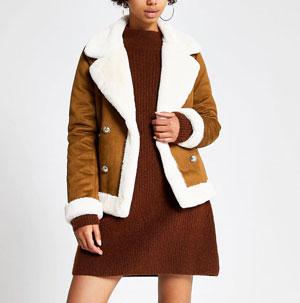 brown faux suede shearling fallaway jacket