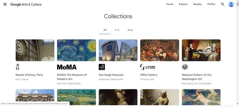 Collections in the Google Arts & Culture Project