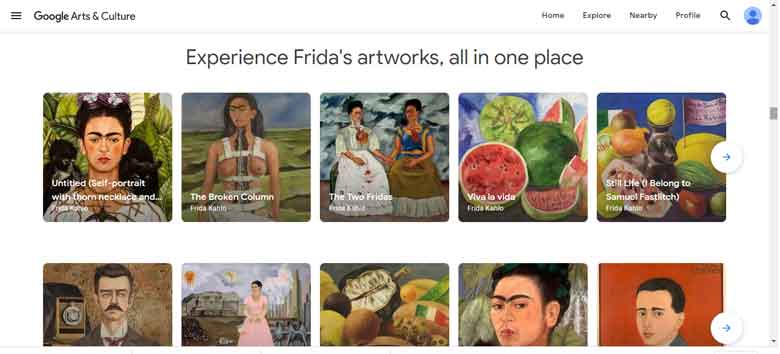 The Faces of Frida Kahlo Exhibition in the Google Arts & Culture Project