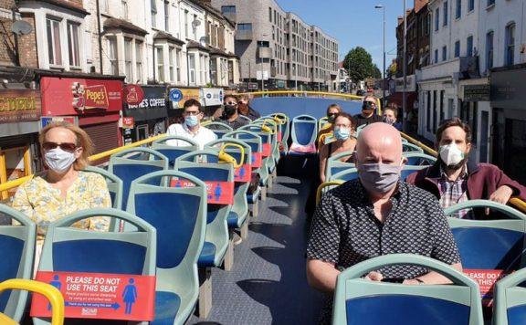 Commute by open top bus