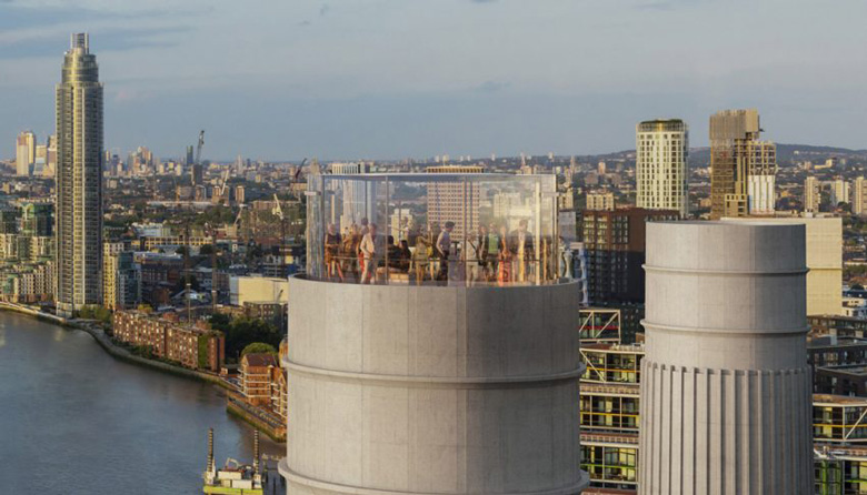 Battersea Power Station Chimney Lift Close Up