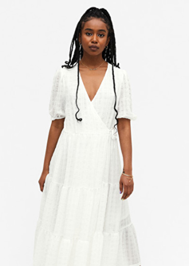 Monki White Wrap Dress